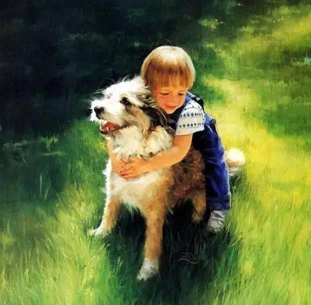 小孩子和狗狗的照片
