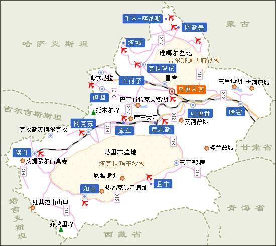 (新疆旅游线路概况地图,点击可放大查看)