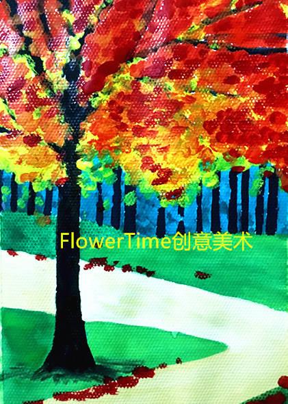 感受秋天的色彩,画一幅简单水粉画《秋色》,零基础水粉系列12