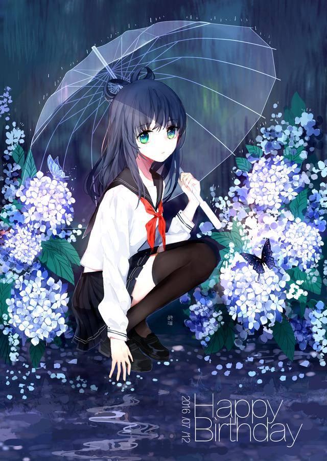 二次元《雨伞》雨中撑伞美眉高清动漫图片