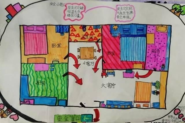 小学简单的家庭逃生�_潍坊市中小学生家庭消防疏散逃生路线图绘画大赛评选啦!