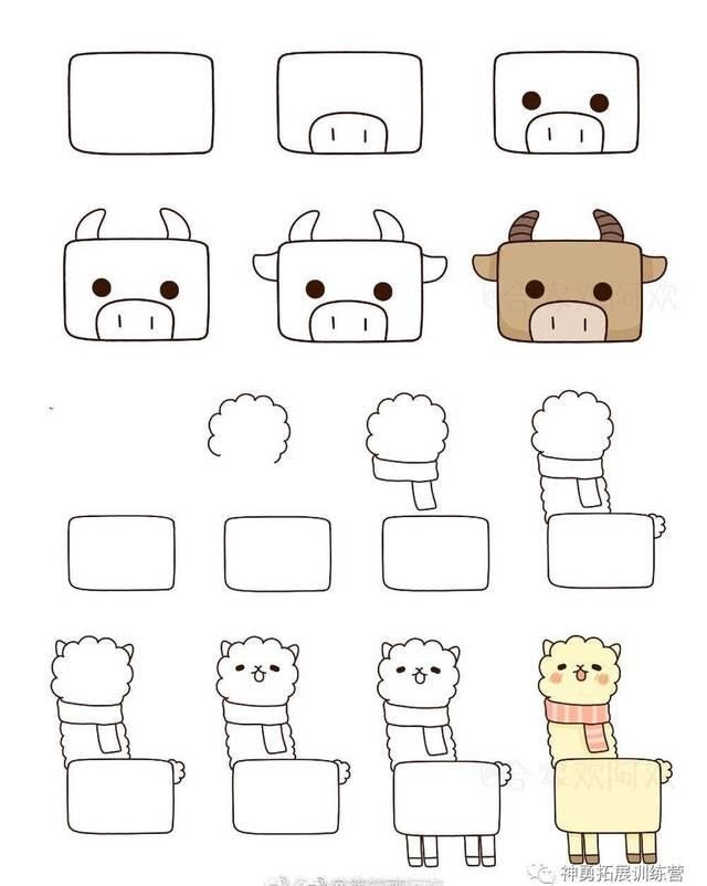 小方块变身简笔画小动物,你被萌到了吗