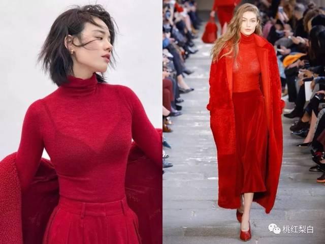 俄罗斯超模 sasha luss用红色大衣x黑红条纹针织x同色穆勒鞋,丝毫不