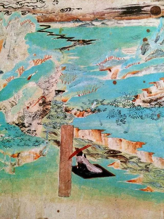"""南壁 """"化城喻品""""中的山间行旅局部 在盛唐敦煌壁画中,除了描绘""""游春图图片"""