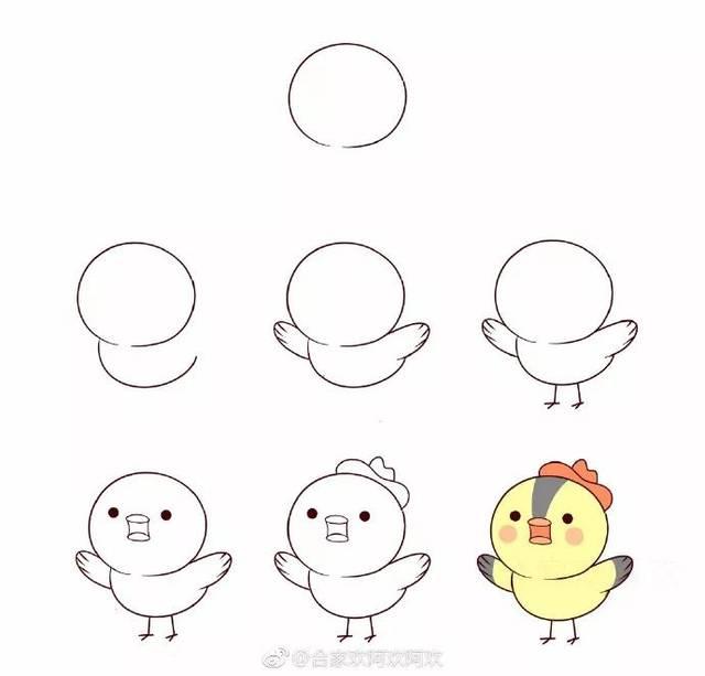 手账简笔画 一组小鸟和小狗简笔画步骤