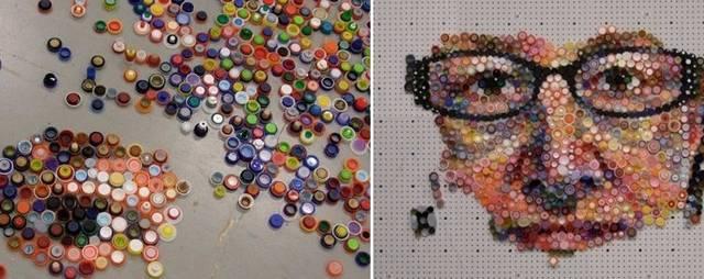 喝完的飲料瓶蓋不要扔了,牛人用7000個瓶蓋作畫,價值上萬!圖片