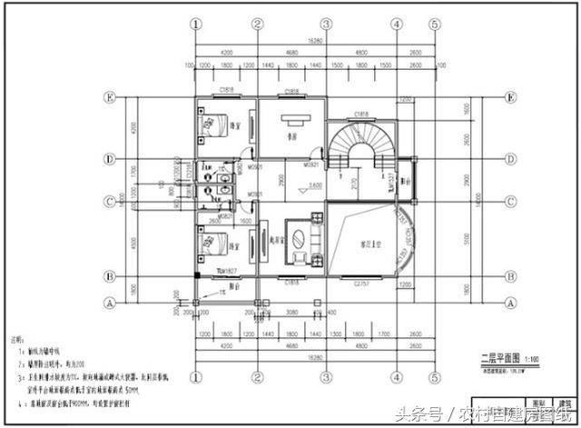 三层农村别墅设计图,带地下室,造价100万,旋转楼梯美