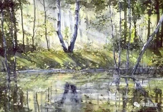 她用水彩泼墨形式表现出的风景画,简直美爆了
