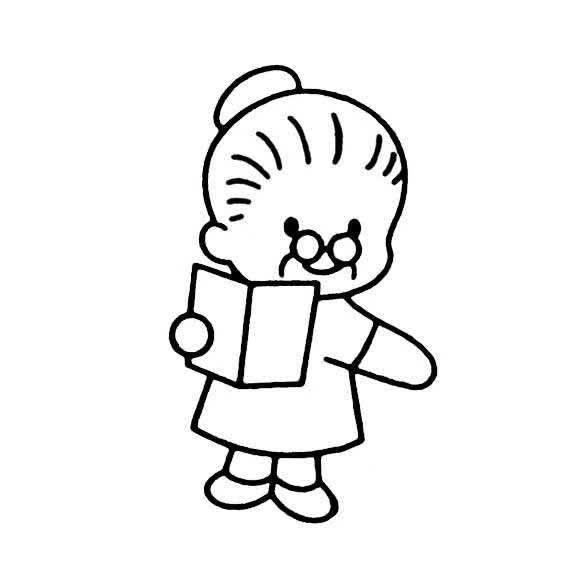 人物简笔画看书的老奶奶老人的画法 简笔画 故事中国