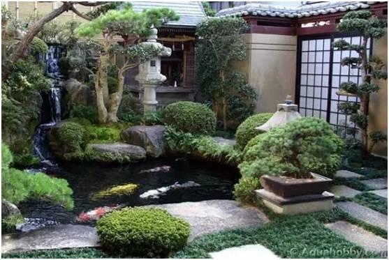 如下图所示,在休闲区会有大型的锦鲤鱼池,自家后院也容纳得下小的鱼池图片