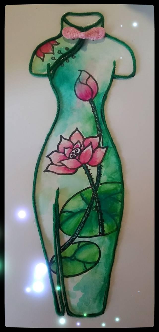 创意美术课堂 · 水色旗袍图片