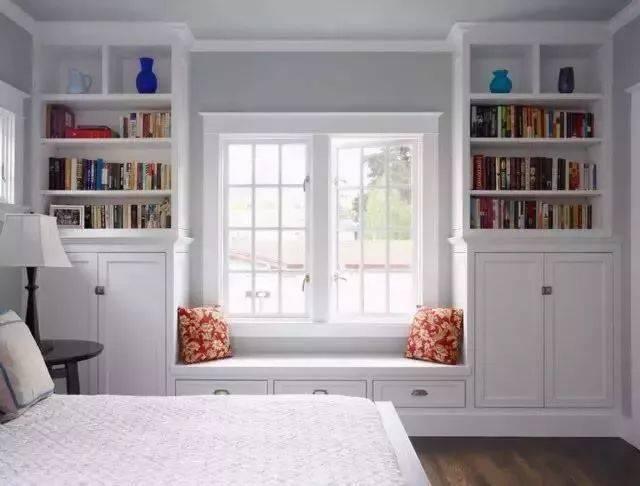 飘窗两边设计成书柜,既节省空间又增加了储物,简约白色卧室装修.图片