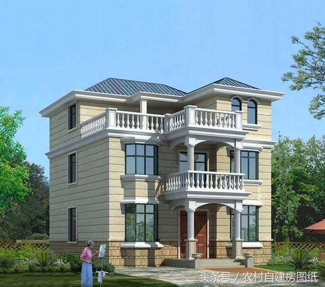 10x11米二层半农村别墅设计图,3款外观,喜欢第2款的最