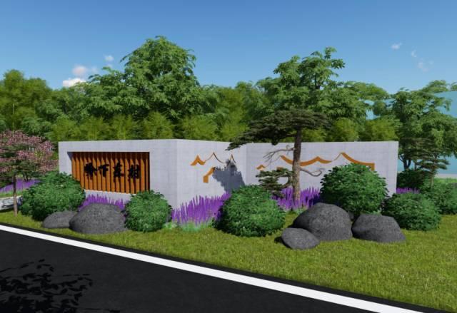 以桂花为特色植物,结合养老院现有道路,设计村名景墙,景观小游园,完善
