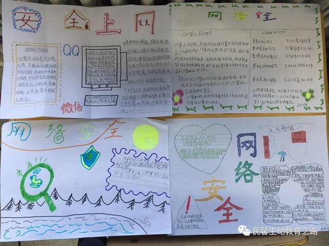 网络安全教育 学生手抄报展示 此次讲座得到了学生的喜爱和老师们的