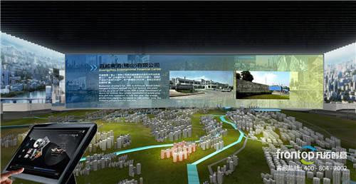 为展馆设计led屏幕 水韵蓝图实体沙盘,表现水韵小镇未来规划的蓝图.图片