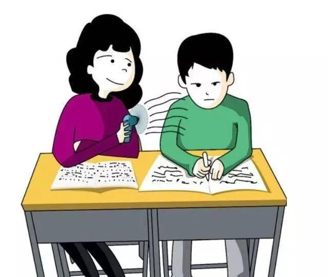 老师批改作业背影手绘