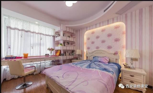 客卧儿童房空间,粉色壁纸搭配,床头背景拱形造型灯带点缀,落地窗