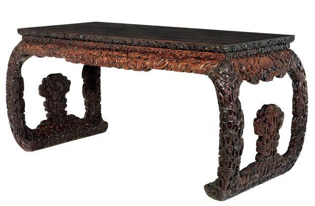 故宫博物院精品之紫檀红木灵芝纹画桌图片