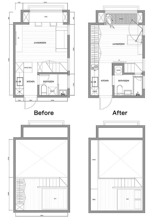20平超小户型老房被改造成单身公寓,墙面收纳这样做空间变大10倍
