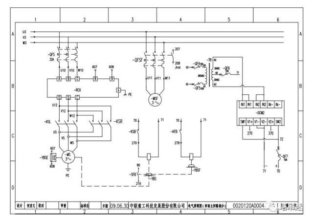 回转一次电路图 ksl左转接触器;ksr右转接触器 塔机回转控制器rcv