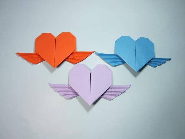 儿童手工折纸心:带翅膀的爱心折纸步骤图解