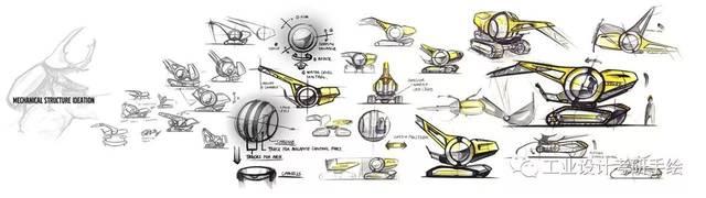 仿生设计-工程车辆的设计-仿生形态-草图方案-效果图展示图片