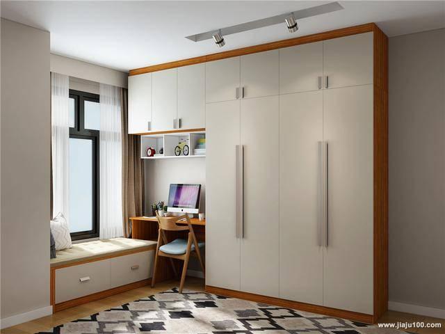 回型飘窗柜,书桌柜,吊柜,书柜一体化设计省空间.