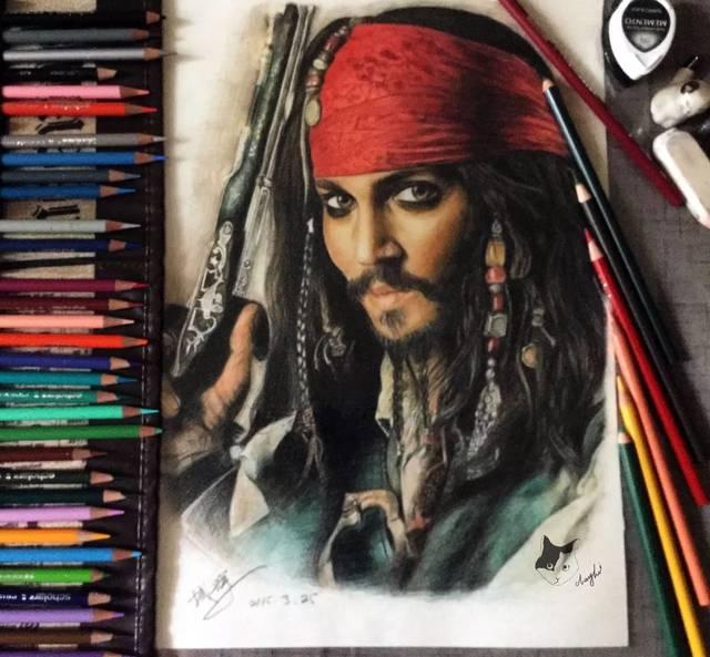 彩铅手绘加勒比海盗
