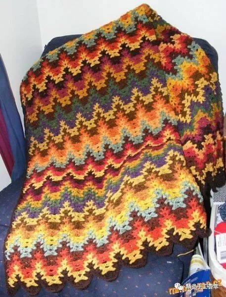 漂亮的钩针盖毯,毛毯花样图解,有花样图解和钩法步骤