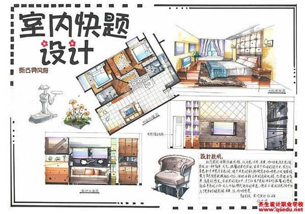 手绘效果图表现步骤:客厅手绘效果图上色步骤——马克笔;卫生间手绘