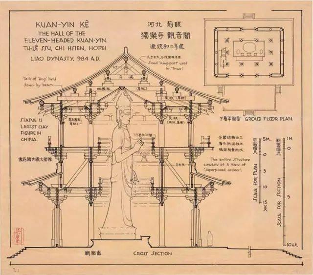 设计| 梁思成手绘的中国建筑,超大开本,每一根柱子都看得清清楚楚