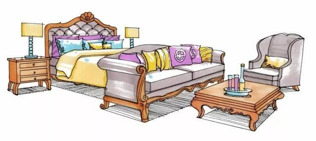转角沙发单体手绘