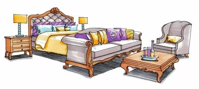 家具组合手绘效果图表现