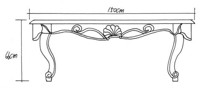 桌子三视图手绘效果图