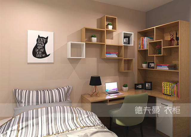 四款不同转角书柜效果设计图,老婆选择了第二款-德夫曼定制家具图片