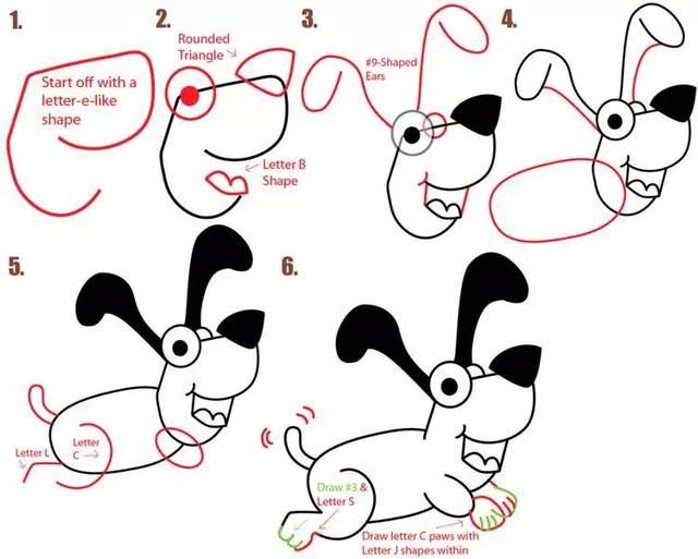 来源:创意生活diy手工制作 也能画出各种不一样的小狗 正逢2018狗年