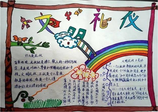 以培养学生良好的文明礼貌习惯,低,中,高年级分别通过儿童画,手抄报图片