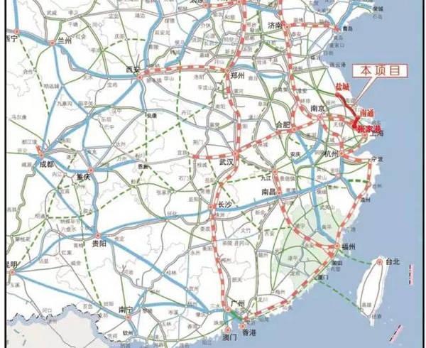 新建盐城至南通铁路地理位置示意图