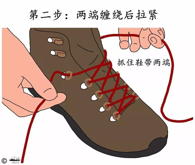 鞋帶兩端相互纏繞2-3圈后拉緊.圖片