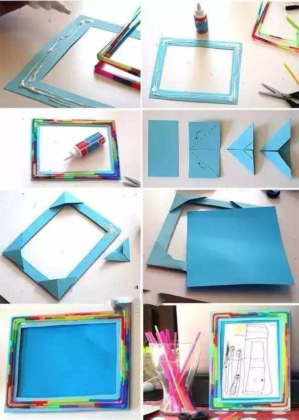 相框是家居装饰必不可少的,这有几款简单,甚至是孩子也能完成的。如用纸胶带贴贴贴,时尚美观简单。用树枝装饰变废为宝。用冰棍棒、拼图等常见易操作! 彩色胶纸相框DIY  所需材料:彩色胶纸带、普通纸皮相框、剪刀  纸皮箱相框DIY
