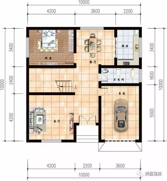 一层平面图:客厅,厨房,卧室,卫生间,车库.