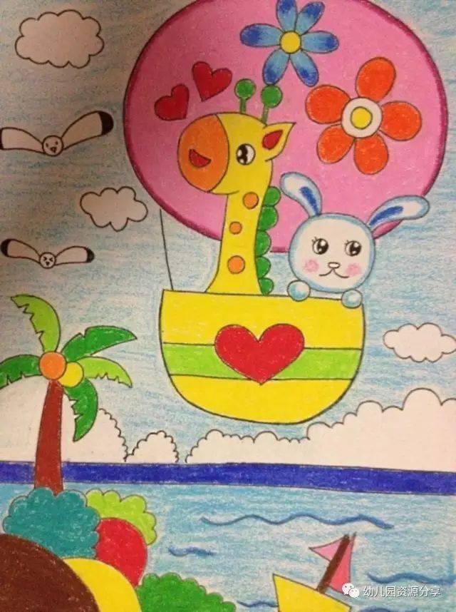 幼儿园蜡笔画范画欣赏,太美了!