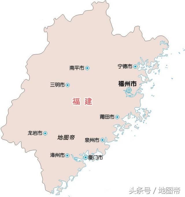 福建位于中国东南沿海,三个陆地邻省,按逆时针方向依次是浙江,江西图片