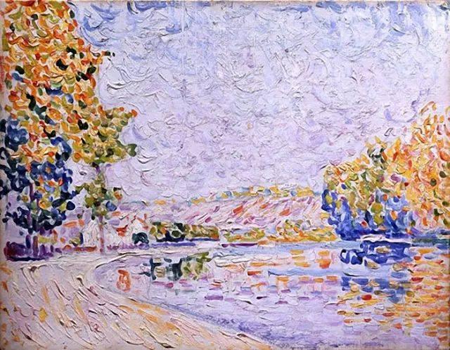 认识莫奈和修拉,被修拉绘画方法所吸引 用各种颜色的点组成统一色调的