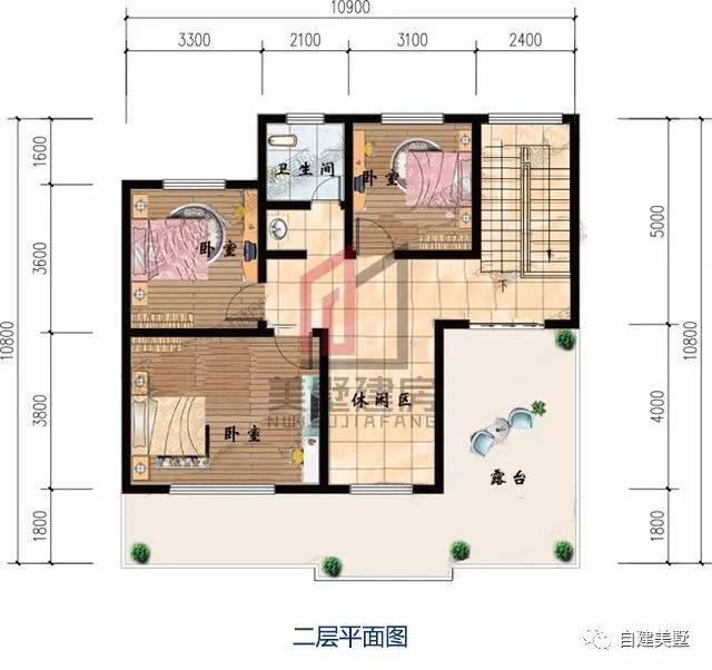 二层平面图:3卧室,休闲区,卫生间,露台.