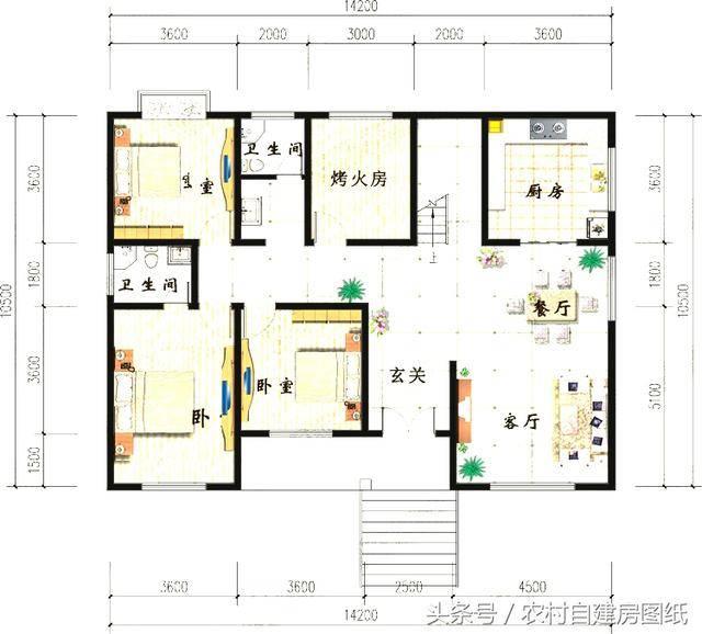 15万农村别墅设计图,5款一层平房,村长说第3款最好看