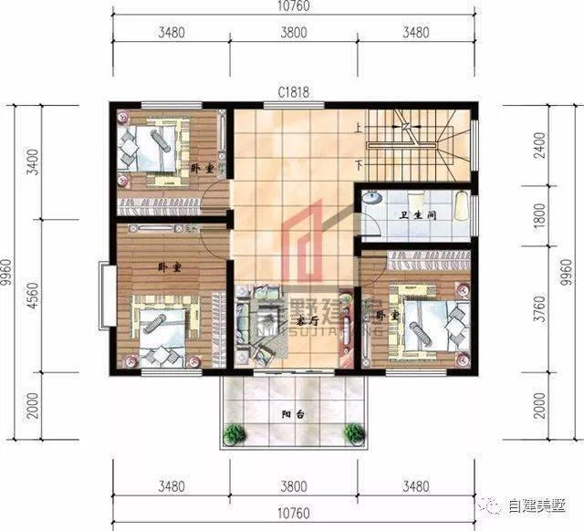 二层平面图:3卧室,卫生间,客厅.