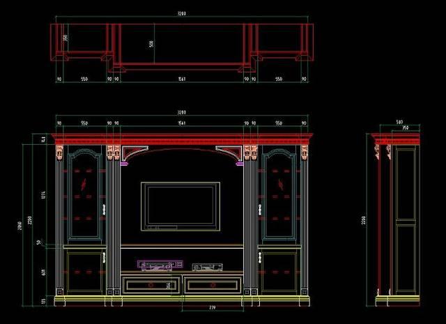 cad家装吧�9l.�k_分享:电视背景墙cad施工图 效果图,看看哪款适合你