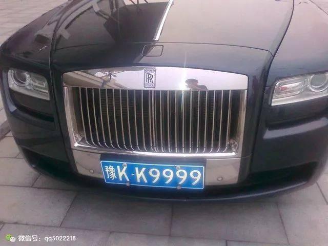 劳斯莱斯标���+�.�9.b_豫kk9999是金标劳斯莱斯古斯特,9999和99999相差一位数字,这副车牌